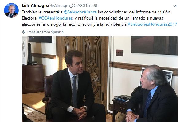 Luis Almagro con Nasralla Nuevas elecciones en Honduras
