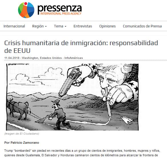 Screen Shot Patricio Zamorano Pressenza Abril 2018 Articulo inmigracion