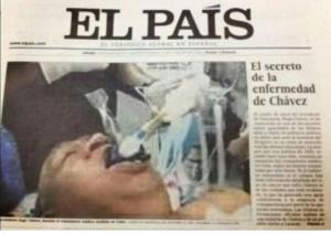 Portada de El pais con foto falsa de Chavez