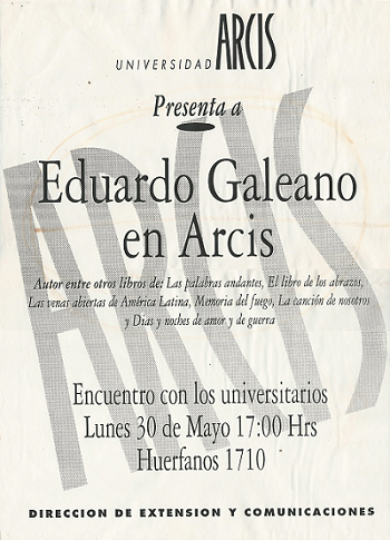 Cartel Eduardo Galeano Arcis_P Zamorano 350x486px