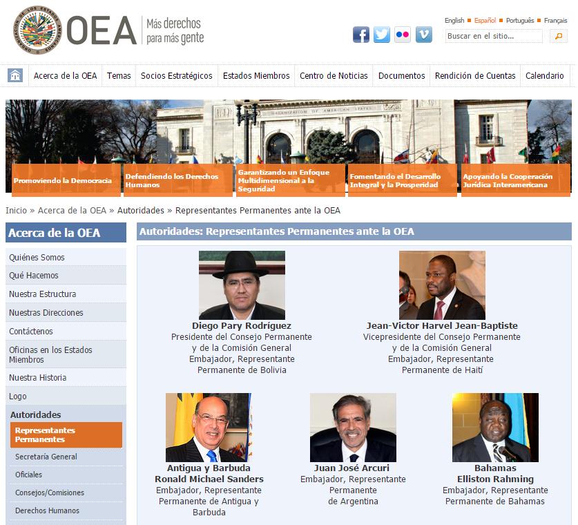 OEA Consejo Permanente Presidencia Bolivia Screenshot