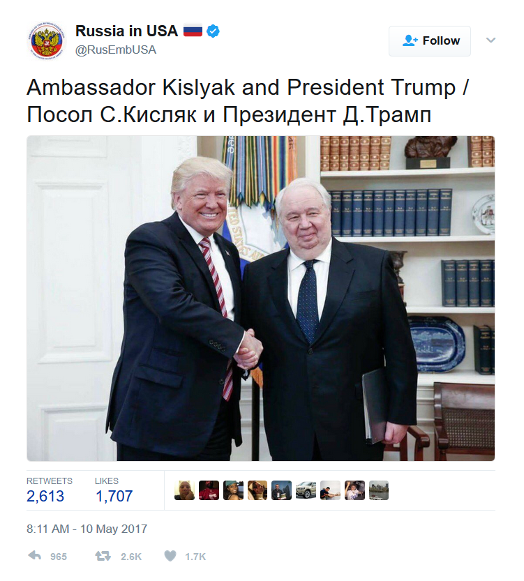 Screen Shot Trump Kislyak Twitter