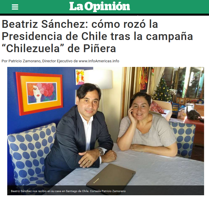 Foto Portada La Opinion Beatriz Sanchez Patricio Zamorano