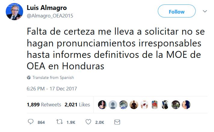 Primer Tweet Almagro No se hagan declaraciones irresponsables