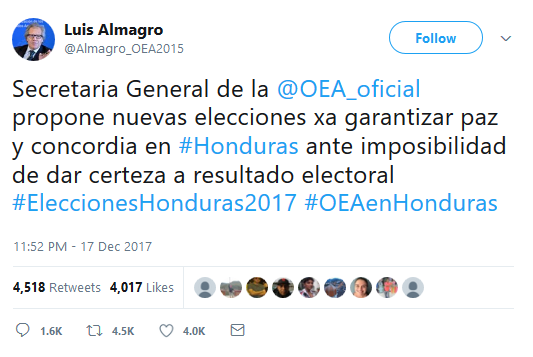 Primer Tweet Almagro Repetir Elecciones