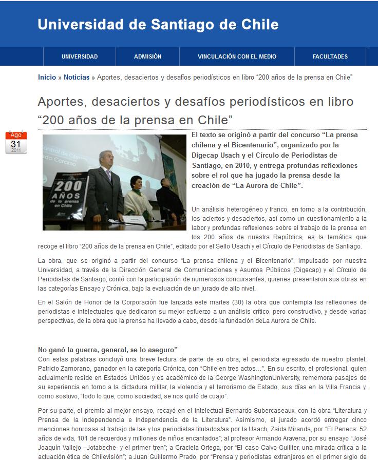 Captura Pantalla Patricio Zamorano USACH al dia 31 agosto 2011 Premio Bicentenario