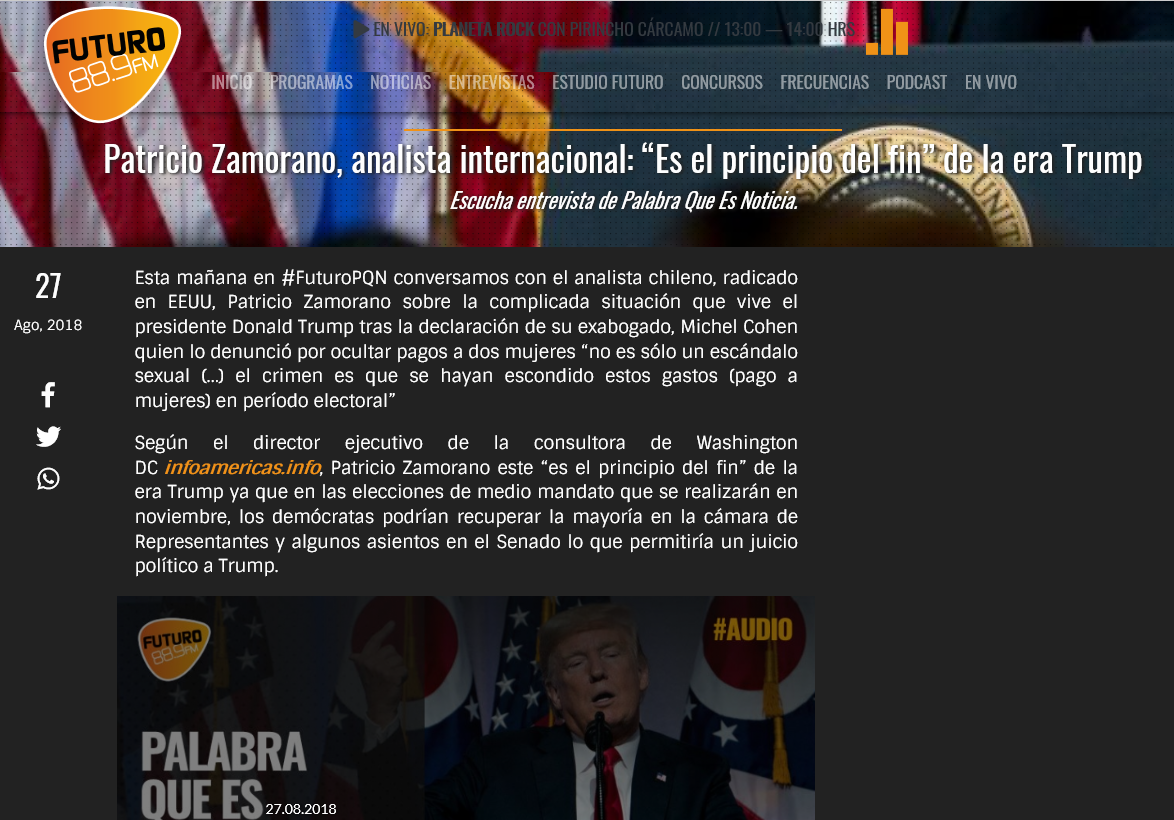 Screen Shot Entrevista a Patricio Zamorano en Radio Futuro 27 ago 2018 Trump y confesion de crimenes de su abogado Cohen